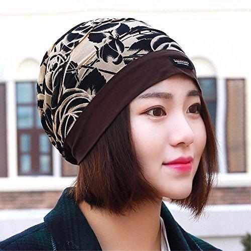 XINQING-MZ Hat das Mädchen Baotou Cap Blumen Schal Storehouse Mütze Glatze auf Nacht-Kappe, Kappe, Braun (Glatze-mütze)