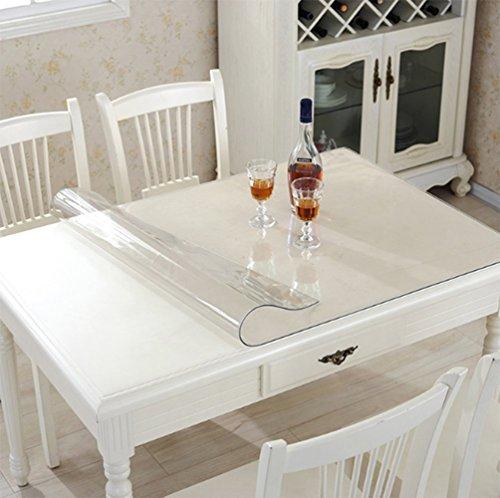 Ever Fairy Kunststoff Transparent Küche Esstisch Abdeckung Tischdecke Protector Stuhl Matte mit Lippe für harte Böden Eco-Friendly Series Stuhl Bodenschutz (90x120cm) (Esstisch Serie)