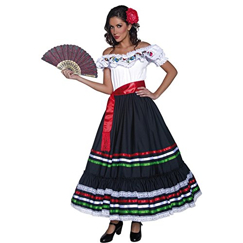 Authentische Western Kollektion Sexy Senorita Kostüm mit Kleid und Schärpe              , (Senorita Kostüme Sexy)