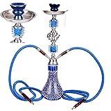 Ectxo Hookah Wasserpfeife mit 2 x Schläuchen & Zange ca.55cm Shisha Reiseshisha Blau