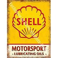 Cover 3 Motorsport, Lubrificante Motore Oli, Pompa Benzina, benzina, Garage Vintage, Metallo/Targa Da Parete In Acciaio - 20 x 30 cm