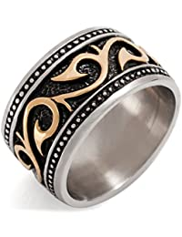 MunkiMix Stainless Steel Ring Band Black Silver Gold Two Tone Embossed Men