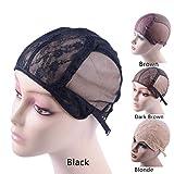 Doble gorra de encaje para hacer pelucas con correa ajustable en la parte trasera(Black L)