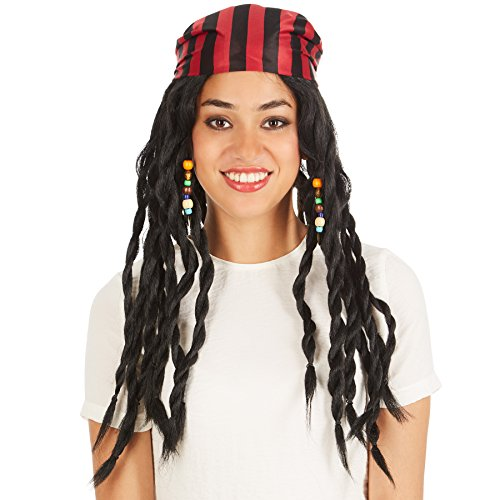 Perücke schwarze lange Rasta-Zöpfe | mit Haarband | Pirat Seemann Piratin (Tina Turner 80er Jahre Kostüm)