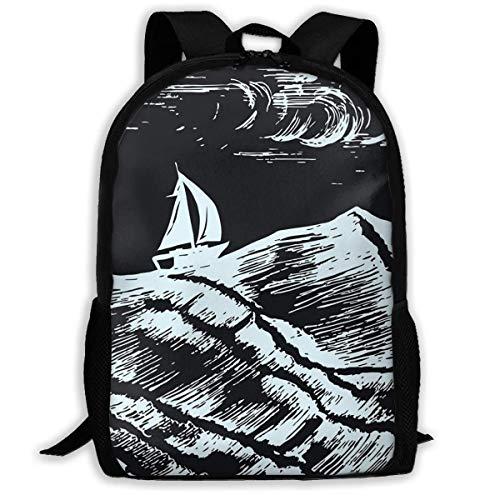 Schulrucksack Segelschiff-Skizzen-Schwimmen in einem Sturm auf Rucksack wasserdichte Schultaschen Durable Travel Camping Rucksäcke für Jungen und Mädchen