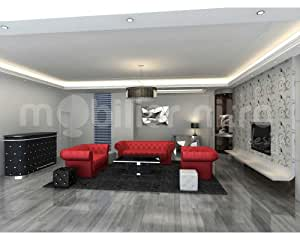 salon chesterfield design rouge cuir pvc cuisine maison. Black Bedroom Furniture Sets. Home Design Ideas