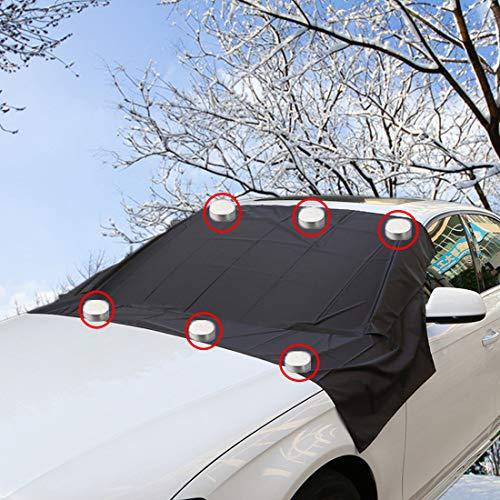 FEZZ Frontscheibenabdeckung Auto Scheibenabdeckung Windschutzscheibe Abdeckung Magnet Auto Abdeckung für Windschutzscheibe Gegen Schnee EIS Frost Staub Sonne 210x120cm