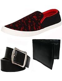 Super Men Combo Pack Of 3 Loafer & Moccasins With Belt & Wallet