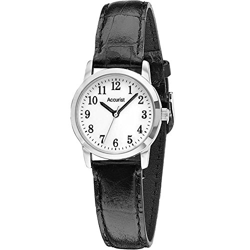 Accurist LS674WA – Women's Wrist Watch, Black Leather Strap