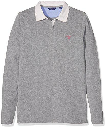 Gant O. Solid Jersey Rugger Ls, Polo Bambina, Grigio (Grigio Melange), 13-14 Anni