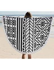 WDBS Serviettes de plage rondes de 150 cm / serviettes de plage adultes