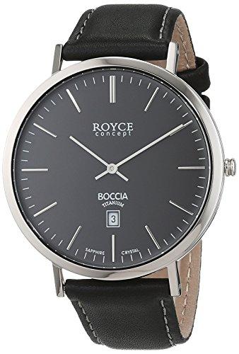 Boccia-Orologio da uomo al quarzo con Display analogico e cinturino in pelle B 3589-02, colore: nero