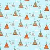 Fabulous Fabrics Cretonne Tatanka Tipi – aquablau —