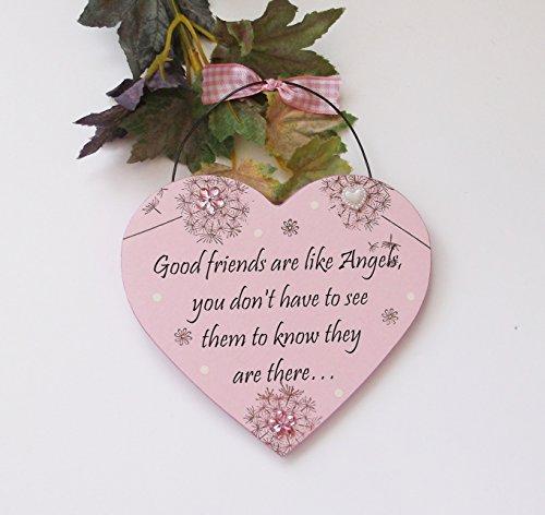Good Friends like Angels. A beautiful Sentimental Quality Wooden Heart Shaped Handmade Keepsake Gift