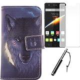 Lankashi Wolf Design 3in1 Zubehör Set PU Flip Leder Tasche