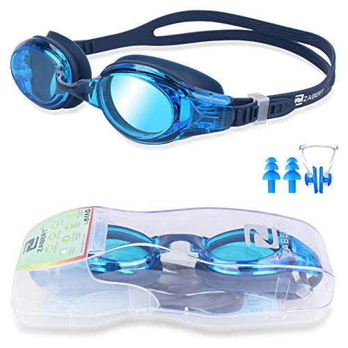 ZABERT Schwimmbrille, W5 Schwimmbrillen für Erwachsene Herren Damen Frauen Kinder Groß Blau - Profi Antibeschlag UV Schutz Verspiegelt Transparent Getönt für Triathlon Testsieger Schwimmbad Wettkampf