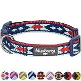 Blueberry Pet Tribal Ethno Druck Marineblau Geflochtenes Hundehalsband, Hals 30cm-40cm, S, Verstellbare Halsbänder für Hunde