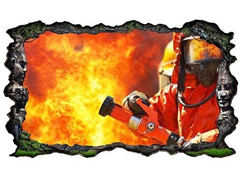 feuerwehr wandtattoo 3D Wandtattoo Feuerwehrmann Feuer Feuerwehr Flamme Bild selbstklebend Wandbild sticker Wohnzimmer Wand Aufkleber 11G693, Wandbild Größe F:ca. 97cmx57cm