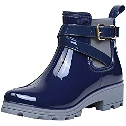 Botas de Agua Bota de Goma Mujer Impermeable lluvia Zapatos Tobillo Casual Calzado, Azul 39