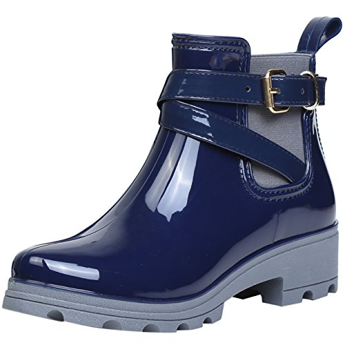 Women Wellington Boots Rubber Rain Boot Ankle Wellies Ladies Chelsea Shoes