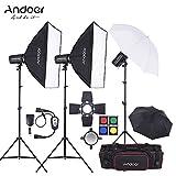 Andoer kit éclairage studio, kit flash de studio avec 3 lampes de studio 300w pour photo et vidéo, sac de transport inclus
