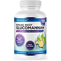 Glucomannan Konjac Root by SlimZest - 120 Vegetarian Capsules - UK Manufactured - Vegetarian & Vegan - Glucomannan Root - Premium Supplement 500mg Glucomannan Per Capsule - Proven to Contribute to Weight Loss in an Energy Restricted Diet, Pills For Men & Women - Order Today From A Well Known Trusted UK Brand (120 Vegetarian Capsules)