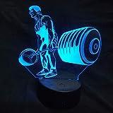 3D Nachtlicht 7 Farbwechsel Gewichtheben Mann Led 3D Optische Täuschung Tischlampe Raumdekoration...