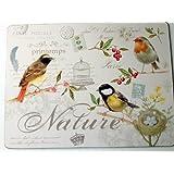 Nuova R2S 608OISE Set 4 Sets de Table Rigides Oiseaux Bois