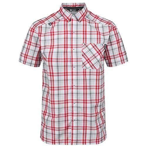 Regatta Herren Mindano IV Quick Drying Check Short Sleeve Casual Hemd, Classic Red, XXXXL