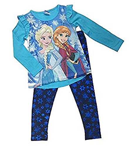 Disney Junior Frozen Elsa & Anna 2 Piece Top & Snowflake Leggings Set Blue