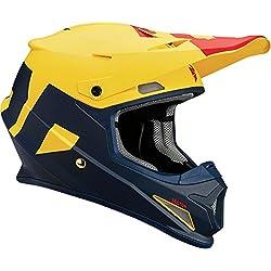 Thor–Casque de moto cross à visière Jaune/rouge/bleu mate L Jaune/rouge/bleu