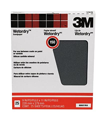 3M Pro-Pak Wetordry 88601NA Sanding Sheets, 9-Inch x 11-Inch, 150C-Grit