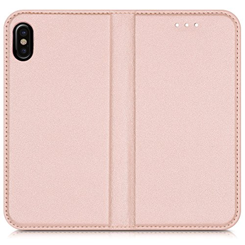 kwmobile Hülle für Apple iPhone X - Flipcover Case Handy Schutzhülle Kunstleder - Bookstyle Flip Cover Schwarz .Rosegold