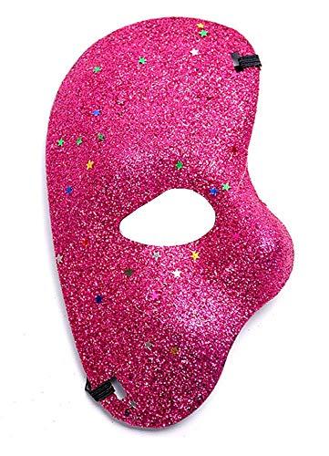 Inception pro infinite (Fuxia) Halbe Gesichtsmaske - Phantom der Oper Mit Glitzer farbig Kostüm Maskerade Karneval Halloween Cosplay (Geist Halloween-masken 2019)