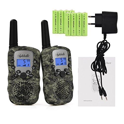 2x Kids smart Walkie Talkies inkl. AKKU Wiederaufladbare T-388 Funkgerät für Mädchen Jungen Kinder (Tarnfarbe) 4 Handsets
