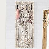 Bilderwelten Wandgarderobe Holz - Welcome with Butterfly - Haken schwarz - Hoch, Garderobenpaneel Holzpaneel Kleiderhaken Flurgarderobe Hakenleiste Holz Hängegarderobe inkl. Haken, Größe HxB: 100cm x 40cm