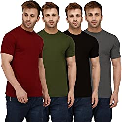 London Hills Solid Men Half Sleeve Round Neck Rust Red, Olive Green, Black, Grey, T-Shirts Combo (Pack of 4)