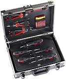 AGT Werkzeugkoffer bestückt: Alu-verstärkter Werkzeugkoffer WZK-645, 64-teilig mit Kleinteile-Set...