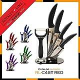 Royalty Line RL-C4S 4 pcs Ensemble des Couteaux Céramiques support acrylique éplucheur (noir)