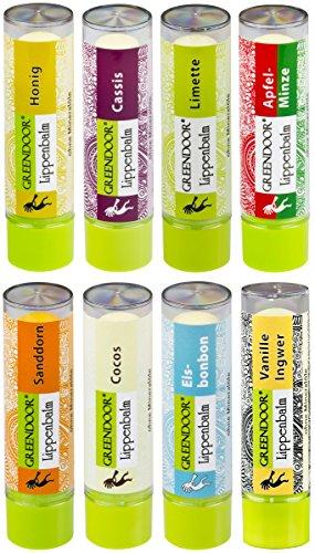 Jojoba-butter Süß (Lippenpflege-Set TUTTI: 8 Sorten komplett - 8 verführerische pflegende Greendoor Lippenbalsam-Stifte zum SPARPREIS, natürliche Lip-Balms, Naturkosmetik mit Bio Jojobaöl, Natur Lippen Winter-Schutz)