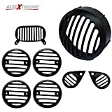 AllExtreme EXDCG8P Heavy Weight Die Casted Grill Set for Headlight, backlight, Indicators and Pivot Lights 350cc and 500cc Cruiser Motorcycle (Set of 8)