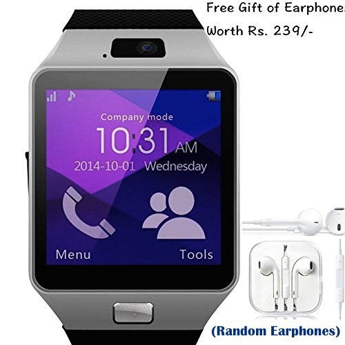 SAMSUNG Galaxy Note N-7000 Compatible and Certified set of Earphones with Mic + DZ09 Bluetooth Smart Watch with SIM Card Slot and Memory Slot upto 16GB supported Watch Phone Remote Camera ( Get Mobile Charging Cable worth Rs 239 FREE & 180 days Replacement Warranty )