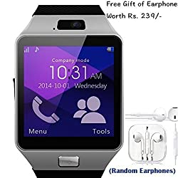 HTC EVO 4G Compatible and Certified set of Earphones with Mic + DZ09 Bluetooth Smart Watch with SIM Card Slot and Memory Slot upto 16GB supported Watch Phone Remote Camera ( Get Mobile Charging Cable worth Rs 239 FREE & 180 days Replacement Warranty )