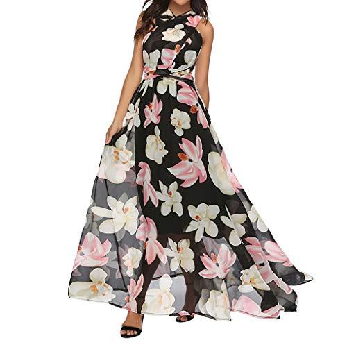 gkog, Damen Kleider Sommer Lange Ärmel Sommerkleid Drucken Panel Maxikleid V Ausschnitt Abendkleid Trompete Ärmel Partykleid(Pink,M) ()