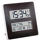 TFA TimeLine Funkuhr mit Temperatur 60.4509.89 carbonoptik übersichtliche Anzeige zur einfachen Zeitorientierung mit ausgeschriebenem Wochentag und vollständigem Datum (carbonoptik)