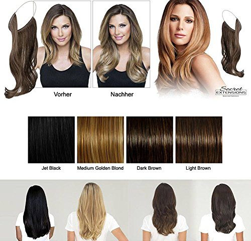 MEDIUM GOLDEN BLOND Flip in Hair Extensions Haarverlängerung Wonder Natural Extensions Haarteil Hairpiece Zopf MIT GUMMIBAND, Haar-Verlängerung 60cm