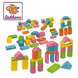 Eichhorn 100088011 - 75 bunte Holzbausteine in einer Formen-Steckspiel Box, 25mm, FSC 100% Zertifiziertes Buchenholz