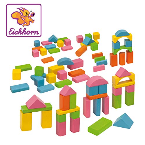 Eichhorn 100088011 - 75 bunte Holzbausteine in einer Formen-Steckspiel Box, 25mm, FSC 100{b16b8940a7eeb78da045466c90cfde90a1271d8adfd5a9ea9c02811b061c4d65} Zertifiziertes Buchenholz