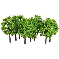 20pcs Modelos de Paisaje de Tren Árboles Plásticos 1: 150 Verde