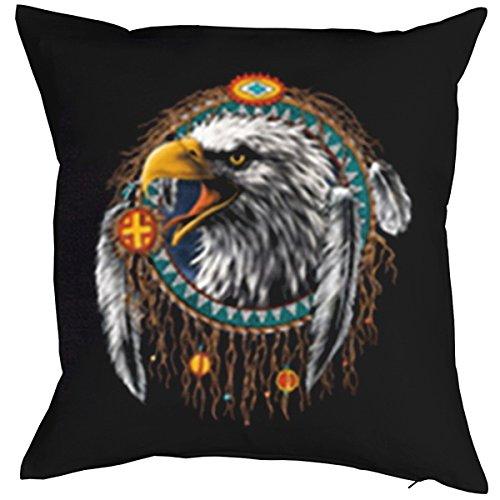 TITAGU Deko/Sofakissen mit Füllung Indianer-Motiv: Indian Eagle - tolle Geschenkidee für USA Fans -